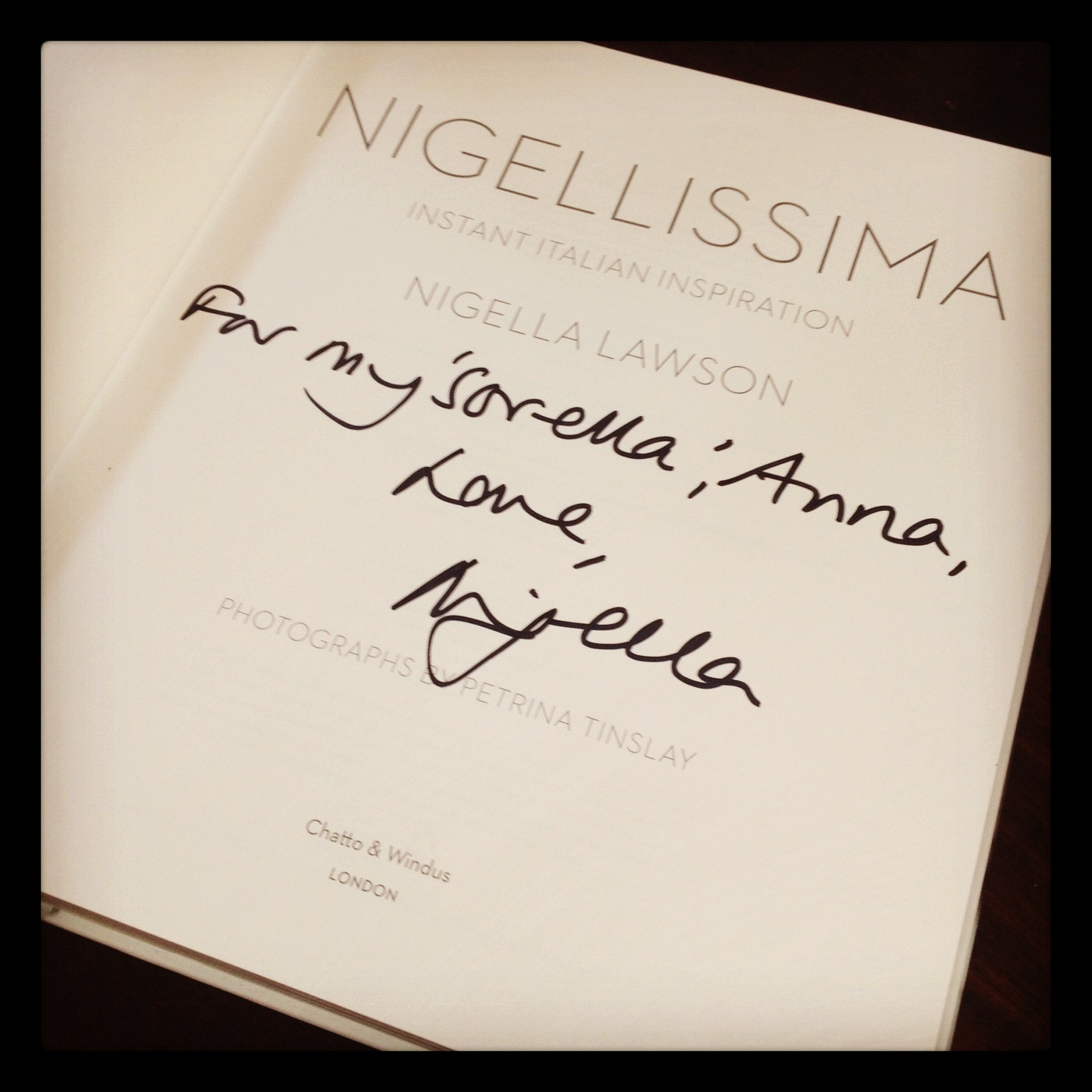 I LOVE being Nigella's 'sorella' (sister)