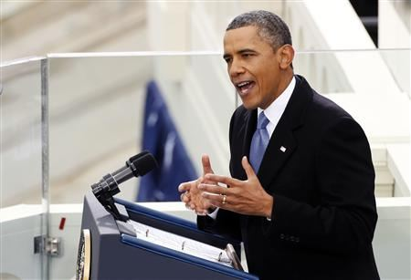 Obama speaks during the swearing-in ceremoniesImage by Reuters