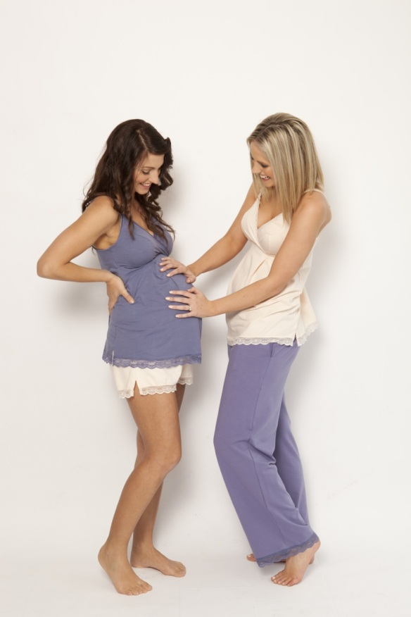 sorella and me sleep & lounge pant (right) shown in evening sky. $59.95