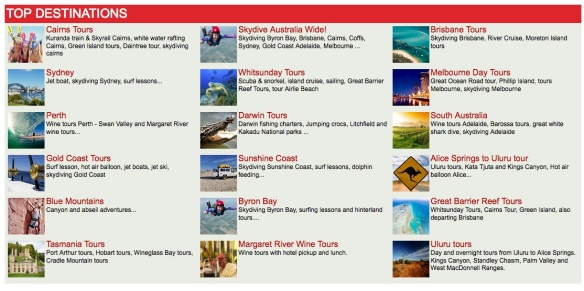 Top Australian Destinations (source: Do It Tour)