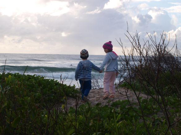 always an early start when camping with children- surf's  up!