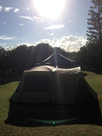 our tent in the morning sunshine