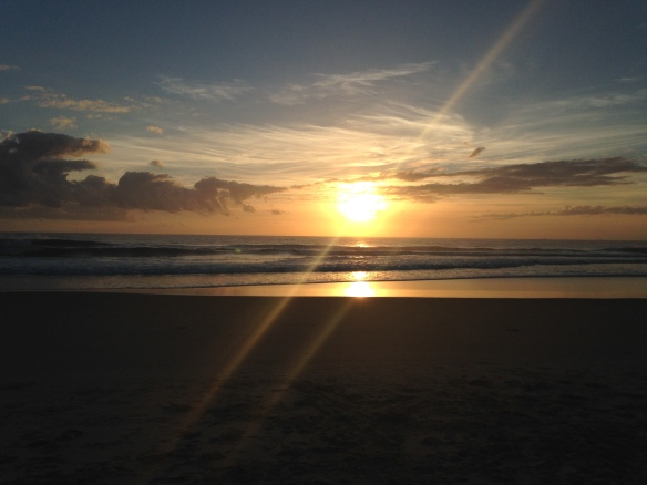 Sunrise on Christmas morning at mudjimba beach - sunshine coast, Queensland